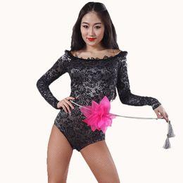 Camisa de profissão on-line-Dança Sexy Lady salão Shirts 5 Color manga comprida Backless Mulheres Profissão Moderno / Flamenco Tops Adulto Prática Roupa 1161