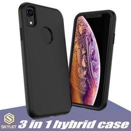 Cas de téléphone de robot en Ligne-Pour le nouvel iPhone 2019 XS MAX XR XS Hybrid Case 3 en 1 Design Phone Case pour Note 10 S10 PLUS Robot Protector Cover Case avec Sac D'OPP