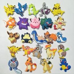 personagens de desenho animado dragão Desconto Frente e verso Pikachu chaveiro dragão tartaruga anel chave pingente personagem de desenho animado brinquedo das crianças presente V106