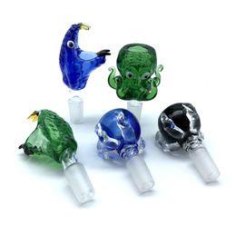Cabeça de polvo on-line-Grosso 14mm 18mm Macho Tigelas De Vidro Azul Verde Preto Cabeça De Cobra Polvo Dragão Garra Monstro De Fumar Tigela De Vidro Para O Tabaco Bongs Água Rigs