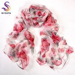 2019 rose rosse rosse [BYSIFA] Red Rose Silk Scarf Ladies Fashion 100% pura seta sciarpe lunghe primavera autunno sottile trasparente sexy raso sciarpa di seta rose rosse rosse economici