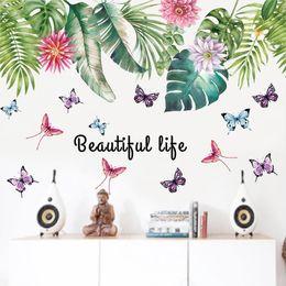 Hoja verde pegatina online-60 * 90 cm * 2 pegatinas de pared decoración flor hoja verde PVC impermeable decoración para el hogar pegatinas de pared para niños sala de arte imágenes decorativas Wallpaper