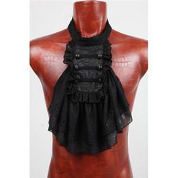ropa victoriana Rebajas PUNK RAVE Moda Steampunk Victorian Corbatas de los hombres Gótico Negro Encaje Blanco Desmontable Collar Ropa de Fiesta Formal Accesorios
