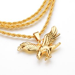 Мужская золотая подвеска онлайн-2018 Hip Hop Gold Chain Boy  Eagle Pendants Chain Men Jewelry Elephant Necklaces pendent Chains for Boys Men Gifts Jewelry