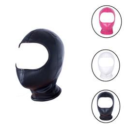 gesichtsmaske frau sex Rabatt PU-Leder-Kopfgeschirr Cosplay Halloween Hood Maske, Open Face Cosplay Partei-Kleidung, Unisex-Kostüme Einzigartiger Catsuit BDSM Rollenspiel