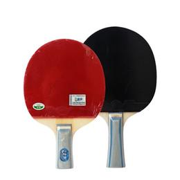 Raquetes de madeira on-line-Crianças Iniciante Tênis De Mesa Bat Madeira Vermelho Frente e Verso Entretenimento Raquete Horizontal E Direto Venda Quente 35ln D1