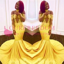 2019 Amarillo fuera del hombro Vestidos de baile de manga larga Apliques de encaje Sirena Sweep Trian Sudáfrica Estilo Vestidos de noche formales desde fabricantes