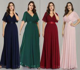 longos vestidos muito formal Desconto Plus Size Rosa Vestidos de Baile Longo Sempre Bonita Com Decote Em V Chiffon A linha Robe De Soirée 2019 Azul Marinho Formal Vestidos de Festa Para As Mulheres