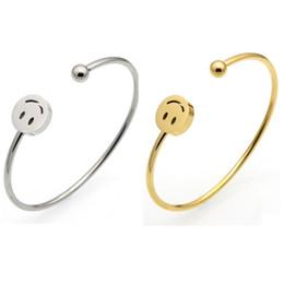 2019 gold armband armband muster Lächeln muster titanium armreif armband gold silber edelstahl charm armband armreif edlen schmuck für frauen günstig gold armband armband muster