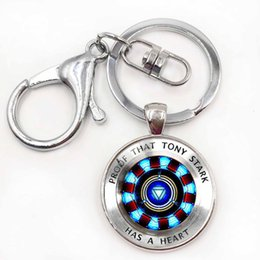 Reactor de arco de iron man online-Hot anime Marvel Avengers iron man Tony Stark Fin del juego Figuras Quantum arc reactor Keychain action Figure Kids Toys Llavero