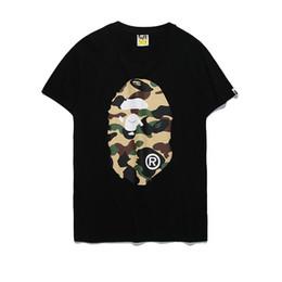 Camisetas blancas de las mujeres online-2018 Ropa de mujer Camisetas de mono Camiseta de impresión de dibujos animados de camuflaje Blanco Hombres Mujeres Casual Suelta Un baño Aape mono Camisetas de manga corta