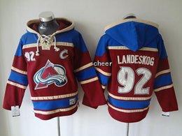 Mais novo por atacado dos homens Colorado Avalanche # 92 landeskog vermelho Hoodies Jerseys Hóquei Hoodies Jerseys Camisolas de