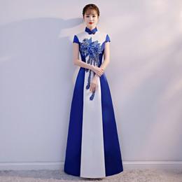 фарфоровая подставка Скидка сексуальный стоячий воротник сине-белый фарфор улучшенный cheongsam вышивка китайское вечернее платье Vestidos размер S-XXL
