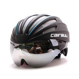 2019 enfriamiento del casco de bicicleta Cool 6 colores 280g Ultra-ligero Goggle Road Bicycle Helmet Racing Cycling Bike Sports Casco de seguridad en el molde Bicicleta de carretera rebajas enfriamiento del casco de bicicleta