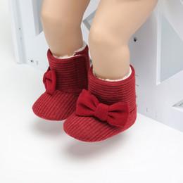 Botas de fios on-line-2019 do bebê de Inverno Moda Criança Botas bonito borboleta-nó malha fio Vamp quente botas da criança do bebê