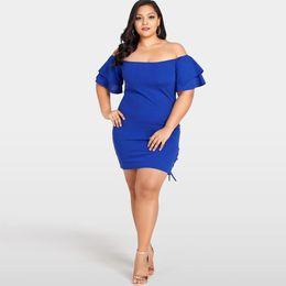 d82e4f1394a Romacci Side Lace Up Party Dress Women Sexy Plus Size Solid Off Shoulder  Dress Layer Sleeve Elegant Ladies Slim Pencil Dress
