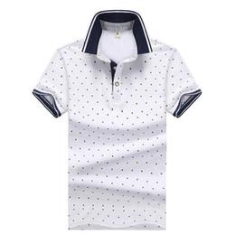 bf9f5cc99a11554 мужская белая рубашка полька точка Скидка Новая японская мужская футболка в  горошек с принтом Вязаный хлопок