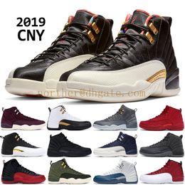 Nike air jordan 12 2019 CNY Kış siyah 12 12 s erkekler basketbol ayakkabı XII PRM Bordo Naylon OVO siyah beyaz PNSY yün Tasarımcı sneakers eğitmenler ABD 7-13 cheap white shoes winter nereden beyaz ayakkabı kış tedarikçiler