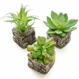 2019 piedra bonsai Pequeño bonsái en maceta Mini plantas suculentas artificiales conjunto florero falso imitación flor de piedra decoración del hogar piedra bonsai baratos