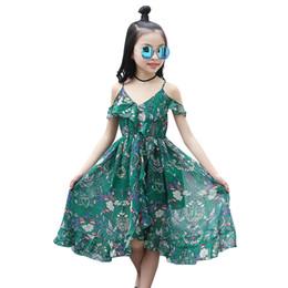 Le ragazze vestono i nuovi vestiti chiffoni stampati estate di estate 2019 i bambini grandi della spiaggia della cinghia lunga dei bohémien 4-14 anni da