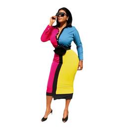 2019 pulsanti a colori Bump The Colour Sexy Irregolare Shirt Dress Autunno Peter Pan Colletto Full Sleeve Midi Robes Lady Button Up Bandage Dress pulsanti a colori economici