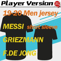 Calciatori gialli del giocatore online-Patch Versione Player CL 2020 # 10 MESSI casa del pullover di calcio 19/20 di distanza gialli # 17 Griezmann # 21 Uniformi F.DE JONG terzo personalizzata di calcio