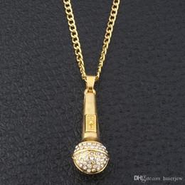 Jóias cadeias microfone on-line-Bling bling hip hop jóias Ice Out Música Stereoscopic Microfone Pingentes Colares Banhado A Ouro Colar de Corrente