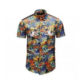 13cb8bd76 True Reveler design men short sleeve shirts summer trend flower blouse tiger  head man fashion shirts letter blind for love tops tiger collar shirt on  sale