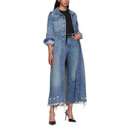 torta di scarpe blu Sconti Alta qualità 2019 Autunno Inverno Donna Trench Outfit Jeans a maniche lunghe Materiale Single Button Azzurro Moda lungo cappotto