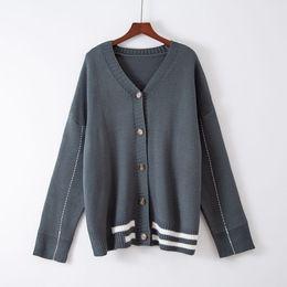 suéter de un color de punto Rebajas Longitud mediados chaqueta de punto Otoño 2019 Nueva Corea suelta Académico Estilo acolchada chaqueta del suéter de un solo botón