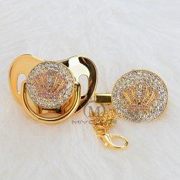 Set di clip rosa online-MIYOCAR Oro bellissimo oro bling ciuccio corona rosa e clip ciuccio set BPA gratuito manichino bling design unico APCB