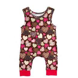 Monos marrones online-Mono para niños Traje de escalada Mono para niño Cuello redondo Sin mangas Estampado Ocio Patrón de corazón Escalada marrón Traje 49