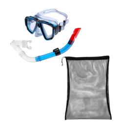 Мешок для купания онлайн-Взрослые Swim Dive Wide View Mask Противотуманные очки Подводное подводное плавание Набор из полусухого шноркеля + сетчатая сумка на шнурке для плавания Дайвинг