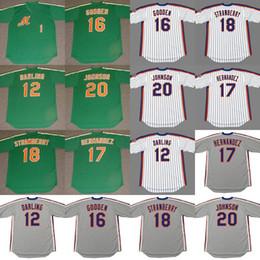 keith hernandez camisa Desconto Homens New York 12 RON QUERIDO 16 DWIGHT GOODEN 20 HOWARD JOHNSON 17 KEITH HERNANDEZ 18 DARRYL MORANGO camisa de beisebol 1986