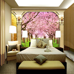 cherry blossom murals Promo Codes - European large mural living room sofa background wallpaper 3D stereo seamless non-woven romantic cherry blossom pillar
