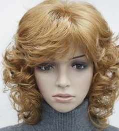 2019 радужные человеческие волосы Парик светло-рыжего цвета с короткими вьющимися волосами для женщин, ежедневный синтетический пушистый парик FYTLD211