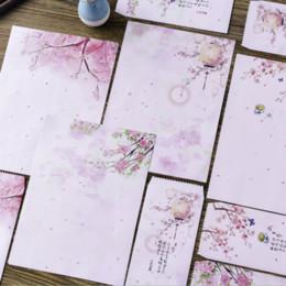 Lettere d'invito online-Peach Blossom Floral Letter Set stile antico 2 Busta 4 lettere Lettera invito a nozze Ufficio Scolastico scrittura Carta