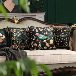 Fundas de almohada elegante online-Elegante Retro Flowers Birds Pillow Cojín Cover Throw Almohadas decorativas Borla Cojines Decorativos Para Sofá Coussin Cojines