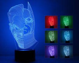 2019 cadeaux décoratifs de bureau Lampe de bureau multicolore du bouton USB LED de changement de contact multicolore du visage 3D de 3D, lumière de table pour la pièce décorative ou des cadeaux pour des amis / enfants sept promotion cadeaux décoratifs de bureau