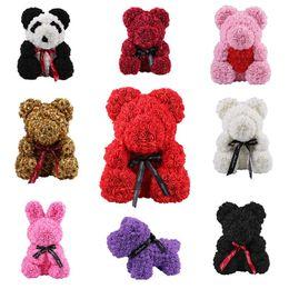 Cerimonia nuziale della panda online-2019 Schiuma di sapone Orso di rosa Bambola Rosa Orsacchiotto Coniglio Panda Amore Fiore Matrimonio artificiale Compleanno San Valentino Regalo per donna