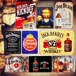 gelo pôsteres Desconto Cerveja gelada Plaque Retro Tin metal Sinal Jack Whisky Jim Beam Poster Bar Pub placas Casino decorativas Wall Art Stickers tamanho 30x20cm ABOX