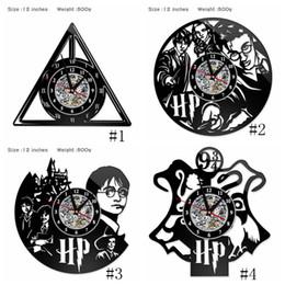 2019 panneau marcheur Harry Potter Horloge Thème Art CD Enregistrement Horloges Disque Vinyle Antique LED Tenture Horloge Noir Creux Décor À La Maison Horloges 4 styles GGA2656