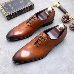 mariposa italiana Rebajas Estampados de mariposa con cordones Vestido de hombre Moda nupcial Zapatos Oxfords Primavera Otoño Cuero genuino Hombres italianos Zapatos de cuero Sapatos