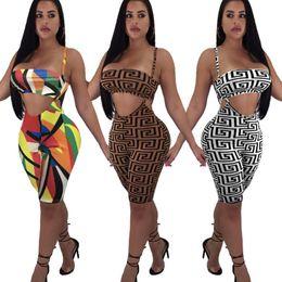 2019 ropa de moda de chándales Diseñador para mujer Pantalones de dos piezas Patrón de moda Bikini + Pantalones cortos Active Beach Party Wear Impresión de lujo Mujeres Chándal al por mayor 3 estilos rebajas ropa de moda de chándales