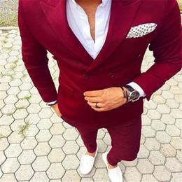 91497e982 2019 ternos sob medida Red Terno Bespoke Homens Ternos Moda Fino Entalhe  Lapela 2 Peças Últimas