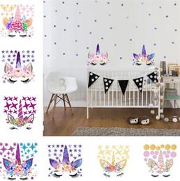 Autocollants muraux en Ligne-Trois style DIY Licorne Autocollants Cartoon Star Stickers Muraux étoile fleur sticker mural Chambre Des Enfants Wall Sticker T6I6003