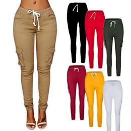 Sexy frauen harem hose online-Puimentiua Frauen Cargo Pants Sexy Damen Casual Harem Tactical Pant Frauen Kleidung Multi-Pocket Jogger Sweat Pants