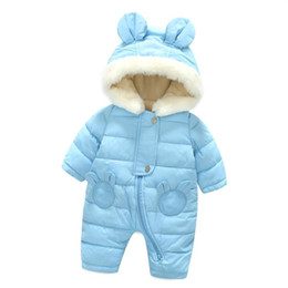 Neonato coreano online-Abbigliamento invernale Pagliaccetti Baby Boy Newborn Pattern Warm Clothes Snow Jumps Korean Cute Bear Orecchie Long Cotton Liner Coat