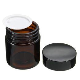 Âmbar vazio frascos de vidro cosméticos on-line-120ml vazio garrafa reutilizável Vidro Âmbar Cosmetic Pot Brown Cosmetics Cuidados Creme Lotion Jar Maquiagem recipiente com tampas Preto