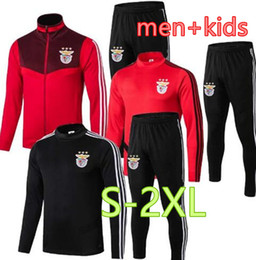 kids windproof jacket Coupons - Wholesale Jacket training suit 19 20 Top quality Benfica jacket Tracksuits men's+kids suit 2019 2020 PIZZI JONAS Soccer jacket Tracksuits
